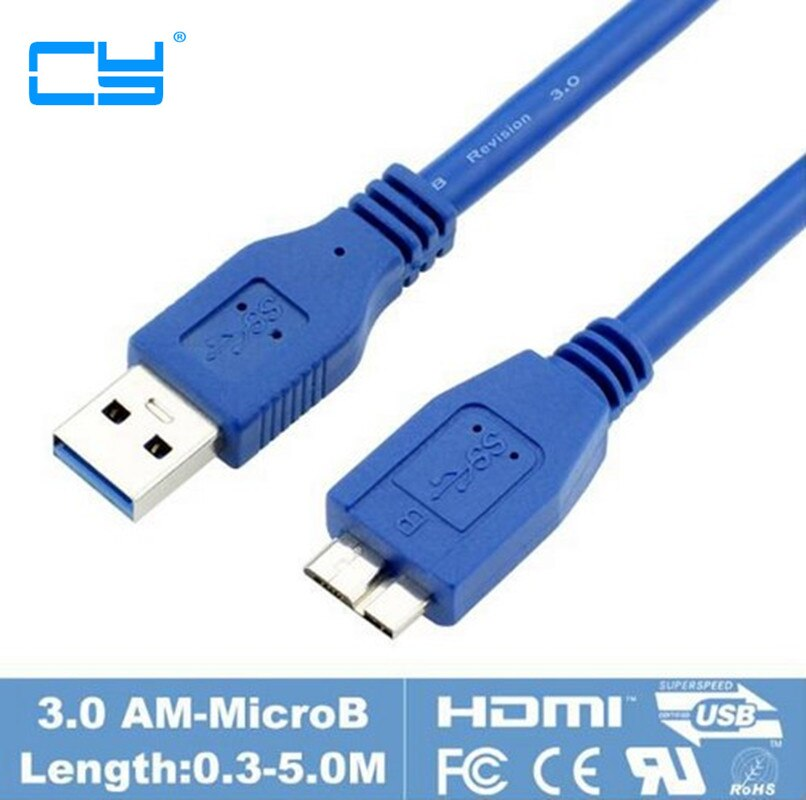 USB 3,0 Micro B Cable de conector de 30cm 60cm 100cm 150cm...