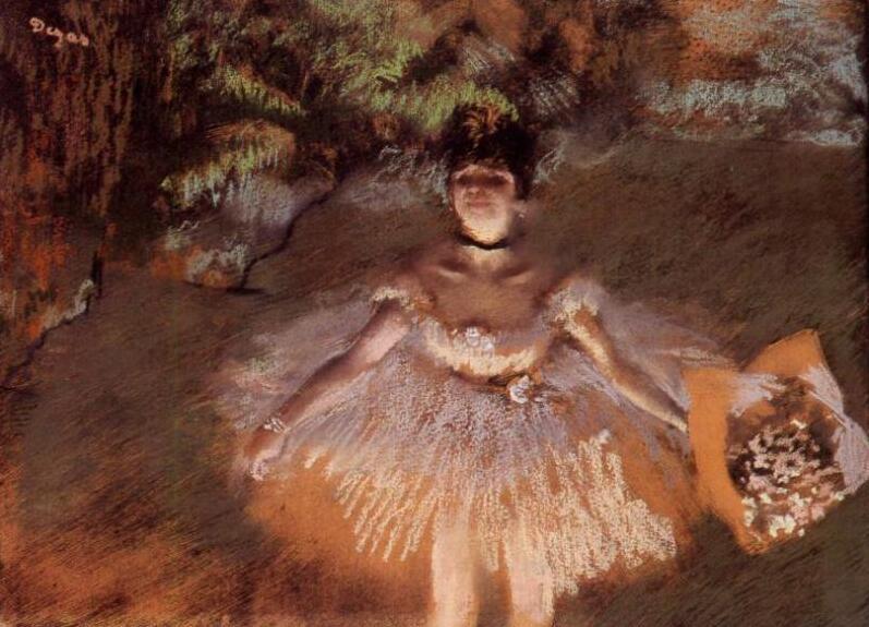 Lienzo de pintura al óleo de alta calidad, reproducciones, bailarín en el escenario con un ramo (1876) de Edgar Degas, pintado a mano