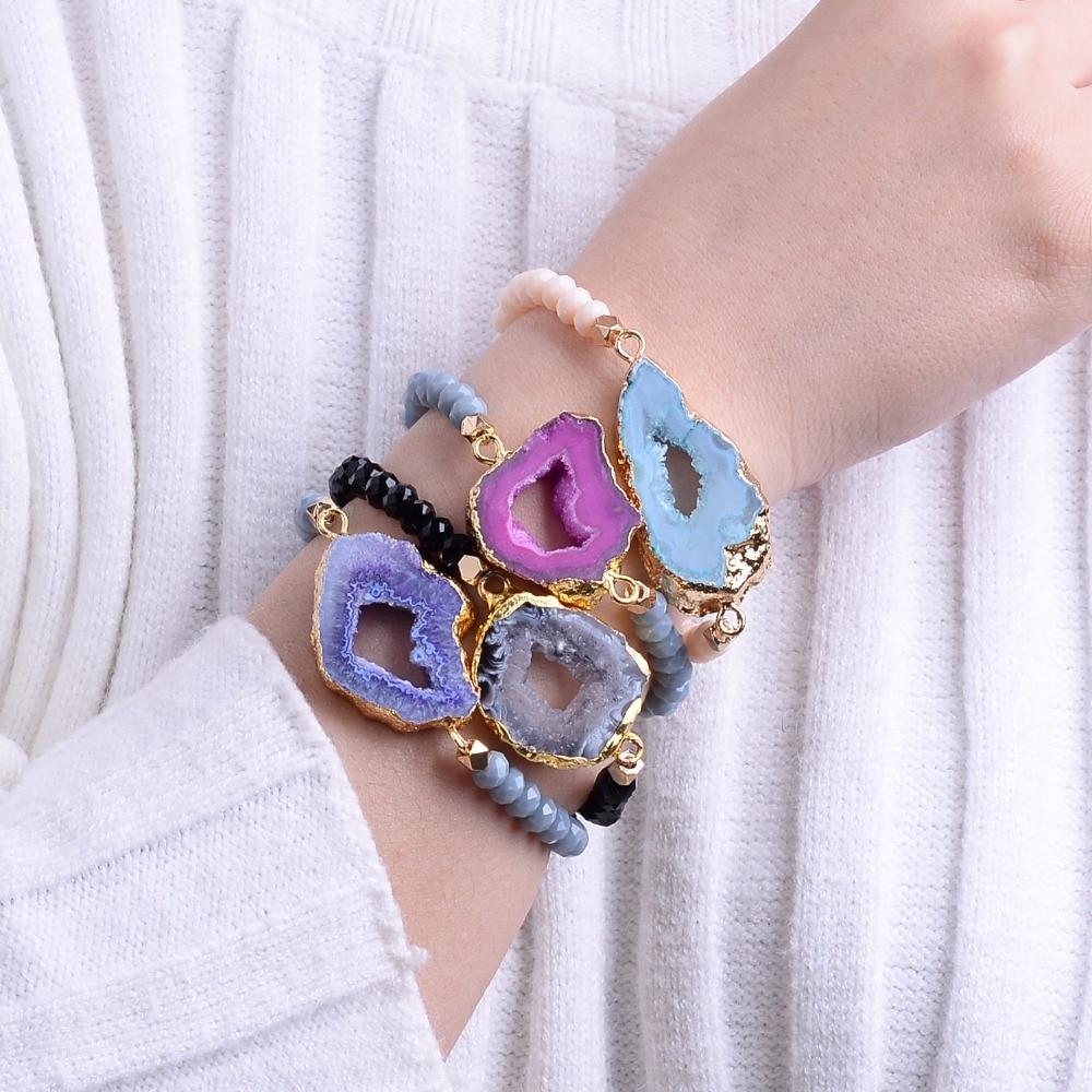 Bojiu Fashion Natural Ag. Druzy Stone Crystal Bead Elastic String Handmade Woman Bracelet Adjustable Lady Party Jewelry BC55