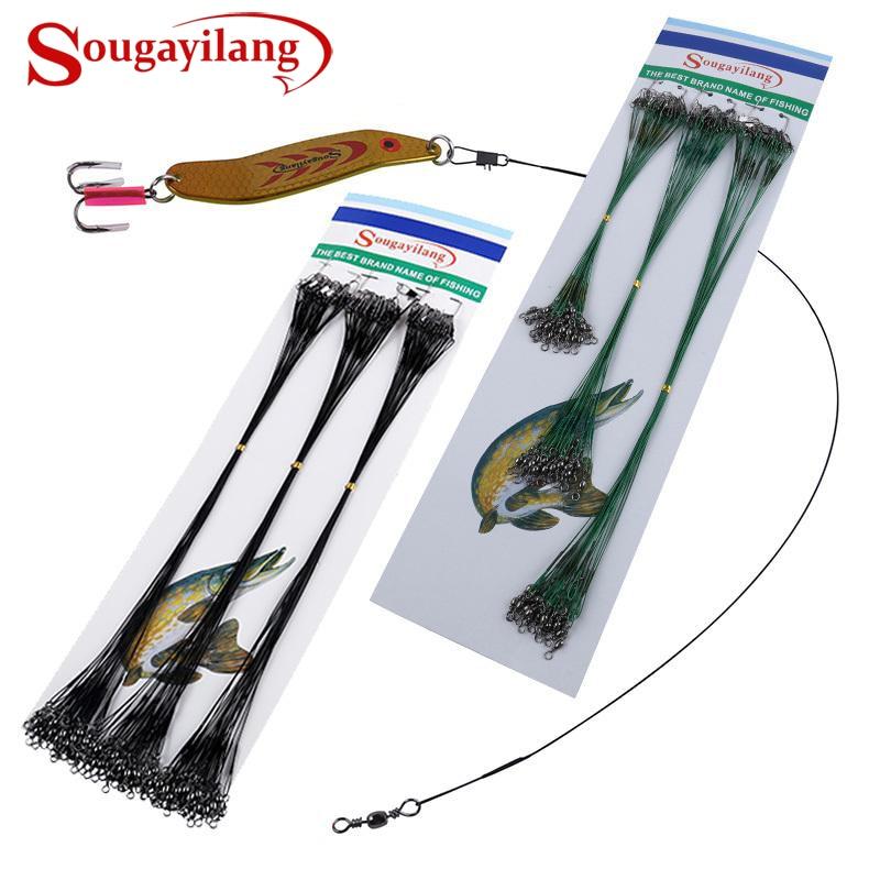 Sougayilang, 72 Uds., Línea alámbrica de pesca, traza de alambre, Spinner giratorio, alambre de pesca de tiburón, líderes de accesorios de pesca, aparejo