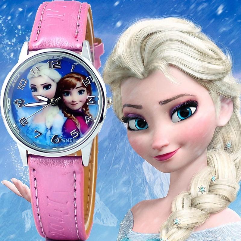 Nuevo reloj de dibujos animados infantil de princesa Elsa Anna, relojes de cuarzo de piel con diseño de reina de las Nieves, relojes de pulsera a la moda para estudiantes y chicas, reloj
