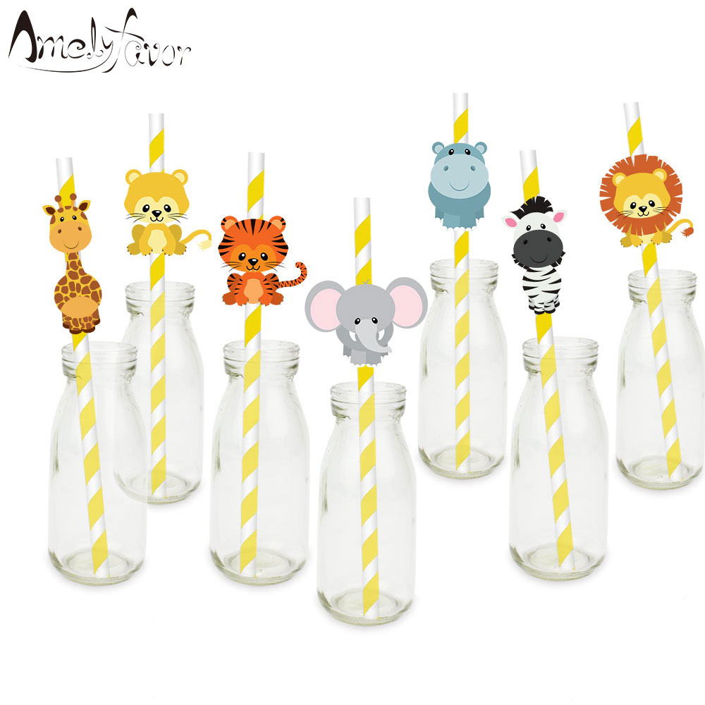 Safari Party Animals Straw 21PCS Paper Straws Jungle Birthday Party Festive Supplies Decoration Paper Drinking Straws Holiday