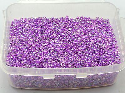 5000 Glass Seed Cuentas 2mm transparente lustre AB púrpura + caja de almacenamiento