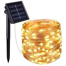 LED Solar Tuin Licht 22M 12M 10M 5M USB Fairy Lamp LEDs String Lights Holiday Christmas party Guirlande Waterdichte Patio Lichten