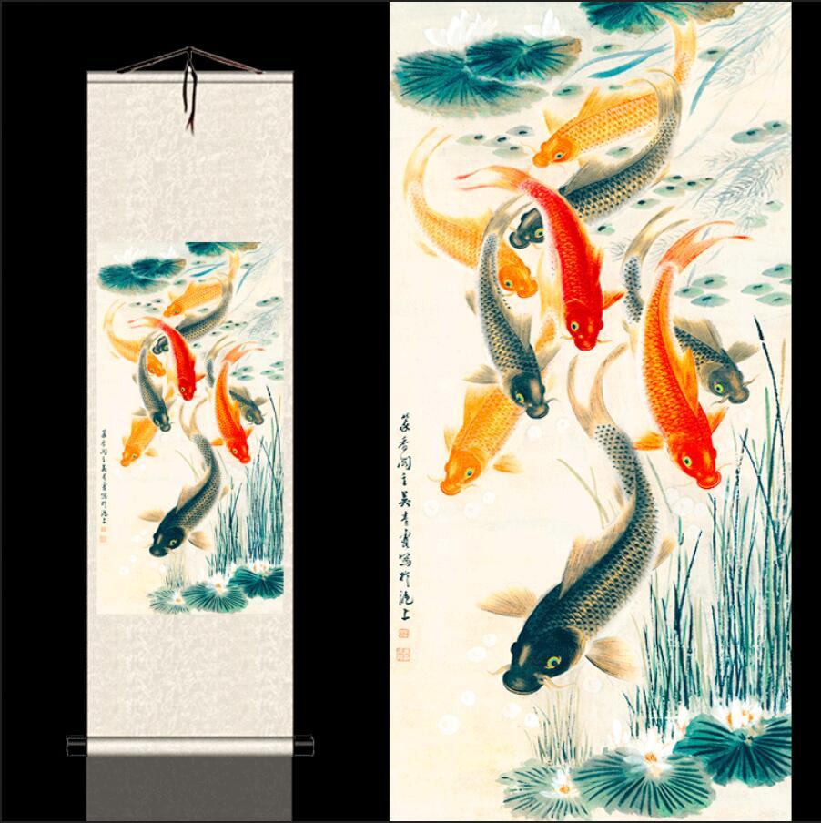 S00YU # nueve dibujos de peces, hierba de agua y dibujos de carpa, decoración de punto Fengshui y pinturas colgantes, Scrol de Fresco clásico
