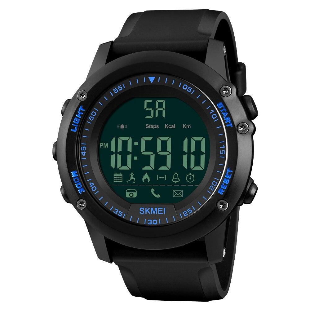 SKMEI deportes hombres reloj inteligente 5ATM resistente al agua aplicación recordatorio cámara remota deportes rastreador BT pulsera inteligente