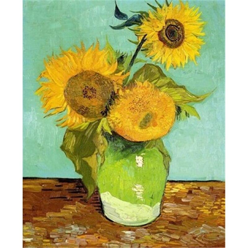 Картина без рамы по номерам, ручная живопись на холсте, ручная живопись маслом, цветы, Van Gogh Sunflow