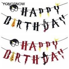 Dessin animé thème magique bannières joyeux anniversaire guirlande tenture murale banderoles gâteau Topper bébé douche enfants fête danniversaire faveurs décor