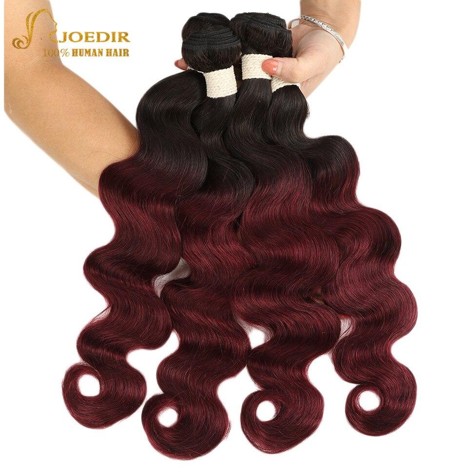 Joedir Pre-Colored 1 PC Brazilian Body Wave Remy Human Hair Weave Bundle T1B 99J Burgundy Ombre Hair Bundles Red Color Free Ship
