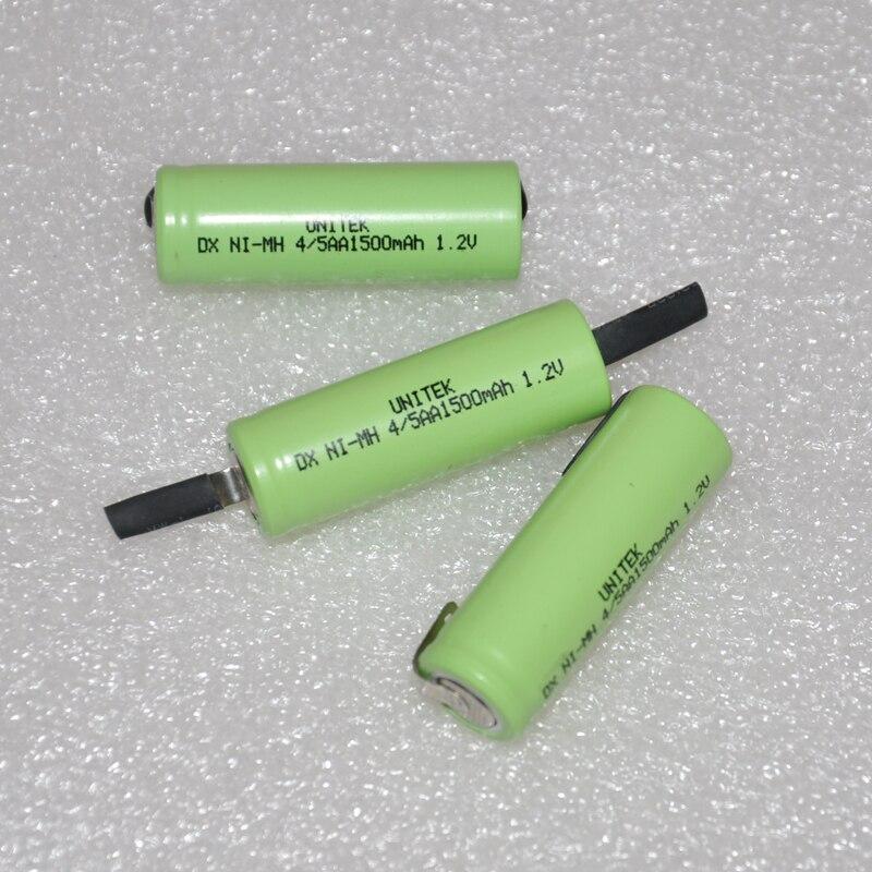 Unitek 1.2 v 4/5aa bateria recarregável 1500mah 4/5 aa ni-mh nimh 14430 pilha com pinos da guia da soldadura para a escova de dentes do barbeador elétrico