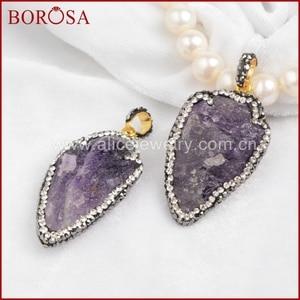 BOROSA Popular Rough Natural Purple Crystal Arrowhead Pendant Bead Paved Zircon JAB244