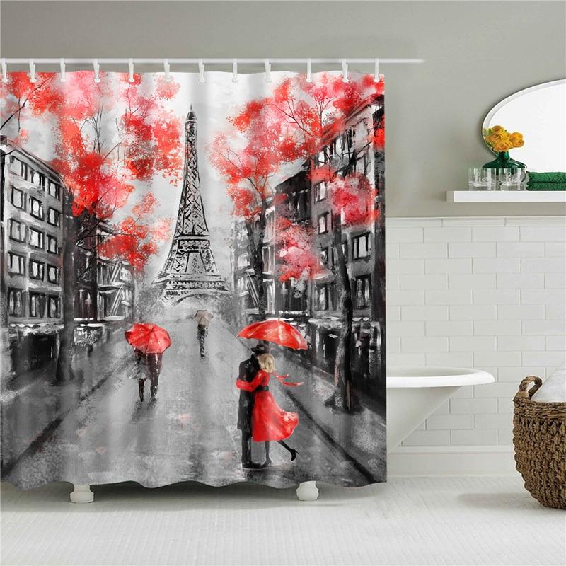 Cortina de ducha de tela de poliéster, cortinas de baño a prueba de moho con estampado de paisaje de París, decoración para pantallas de baño domésticas