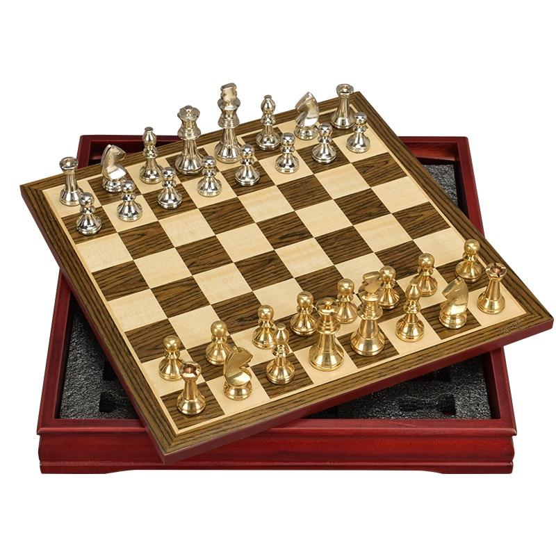 Tabela de tabuleiro profissional, padrão de xadrez de liga de zinco clássico profissional de alta qualidade, jogos de tabuleiro para família tradicional