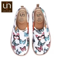 uin butterfly design casual flats for women soft round toe shoes slip on canvas loafers ladies outdoor walking shoes