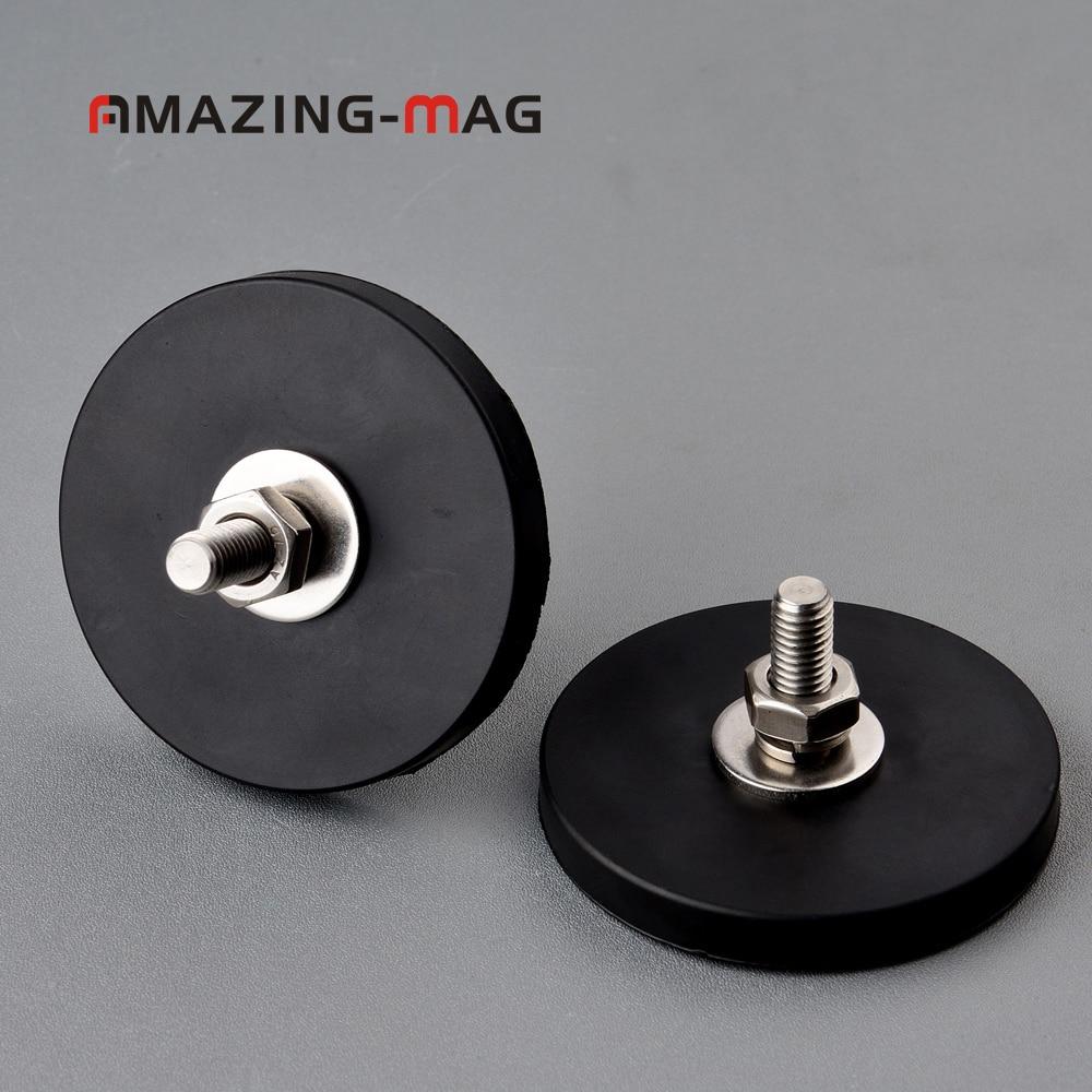 Disque magnétique néodyme puissant 28KG 2 pièces   Avec caoutchouc Costed D66 * 8.5mm filetage M8 Anti-rayure, caméra aimant pour voiture