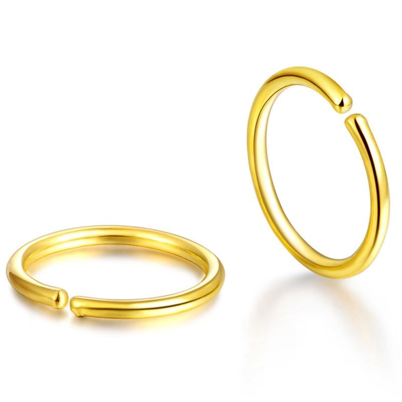 Solid 24K Yellow Gold Earrings Women Smooth Circle Hoop Earrings