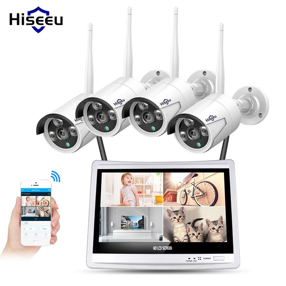 Hiseeu 12 Displayer 4pcs 1080P Wireless CCTV IP Camera System 8CH NVR wifi video surveillance home Security System Kit