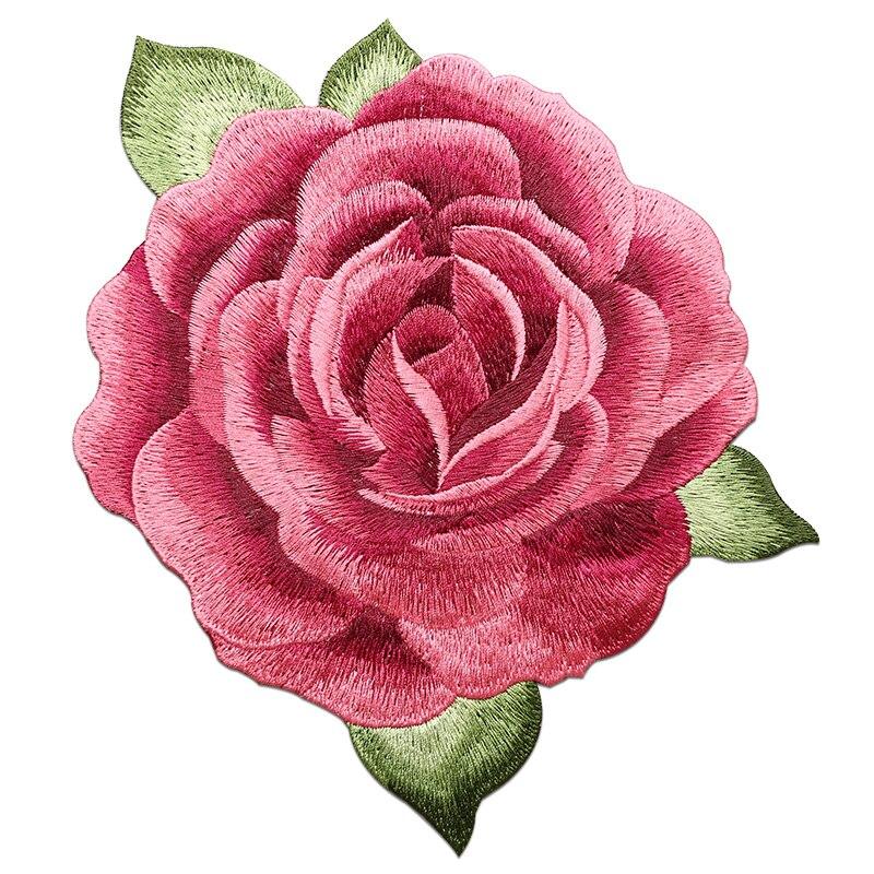 1 pçs redondo peônia flor costurar na etiqueta para decoração de roupas boa qualidade bordado remendos florais para roupas de fantasia diy