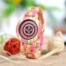 BOBO oiseau femmes bambou montre coloré miborough 2035 Quartz mouvement femme montre-bracelet livraison directe B-P08
