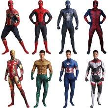 Spiderman Venom Superman Iron Man Captain America Aquaman Deadpool Quantum Reich Kostüm Cosplay Halloween Superhero Kostüm Männer