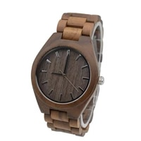 full walnut wooden watch for mens custom gift for boyfriend with wood watchband for christmas gift