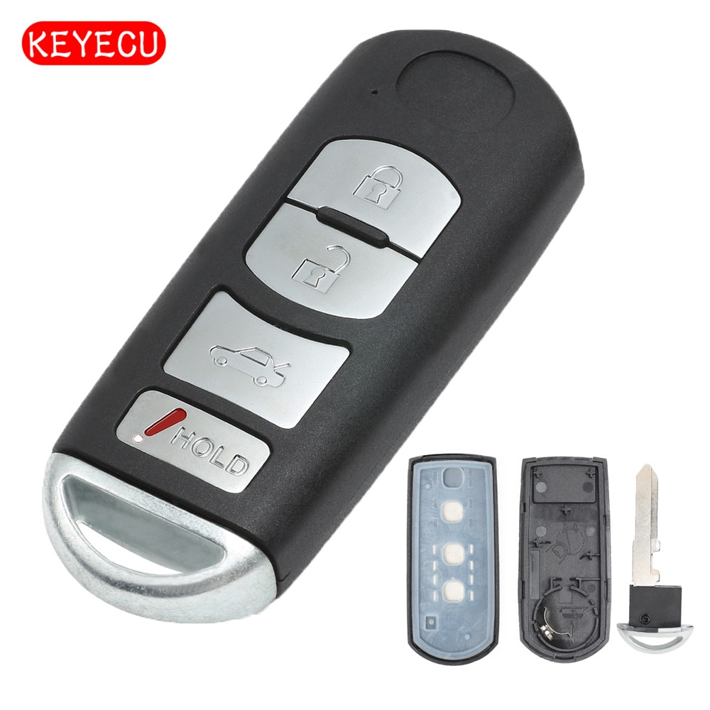Keyecu inteligente carcasa de llave a distancia de coche caso Fob 3 botón + 1 para Mazda 3 5 6 CX-5 CX-7 CX-9 RX8 Miata MX5