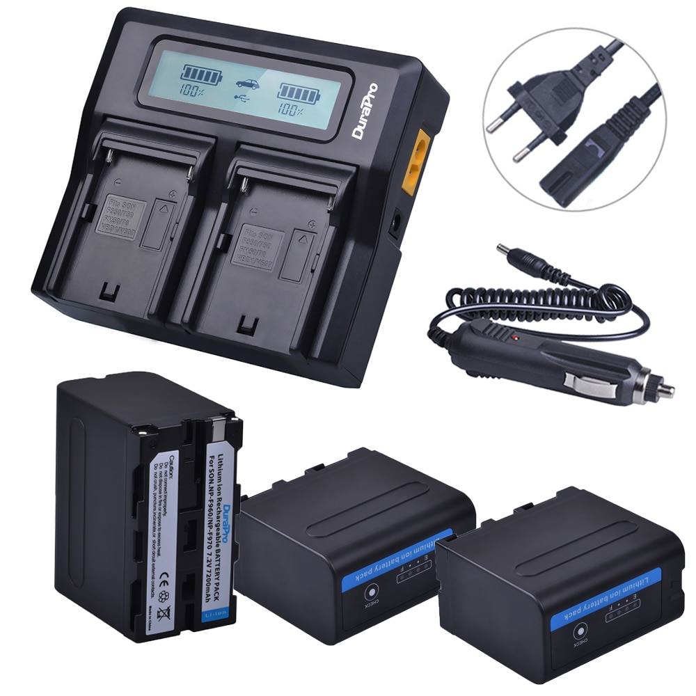 3x7200 mah NP-F970 NP F970 Power Display Batterie + Ultra Schnelle 3X schneller LCD Dual Ladegerät für SONY f930 F950 F770 F570 CCD-RV100