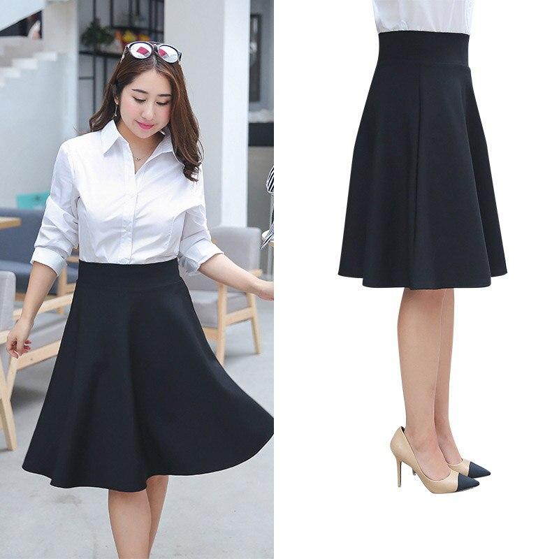 M-5XL Plus Size Women Summer Pleated Skirts Casual Black Large Size Office Lady Work Skirts Falda OL Black Puff Skirts Clothing