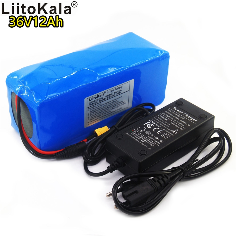 LiitoKala 36v 12ah battery pack 18650 lithium ion 42V 12000mAh 10s4p large capacity bms electric bicycle XT60 interface