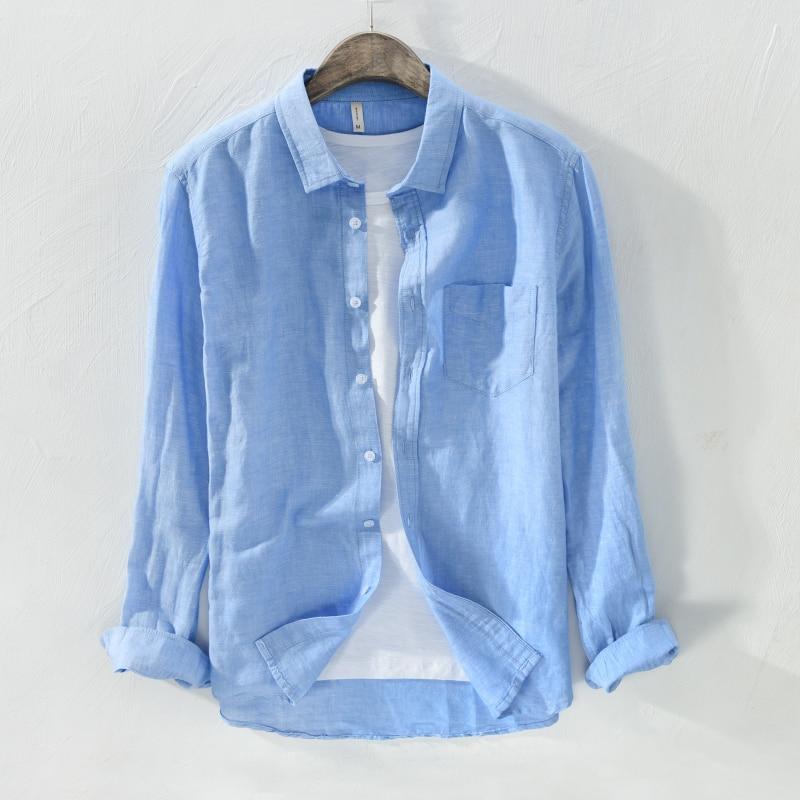 قميص كتان رجالي بأكمام طويلة ، قميص كتان غير رسمي ، أزياء صلبة ، ملابس ذات علامة تجارية ، 4 ألوان ، ربيع 2018