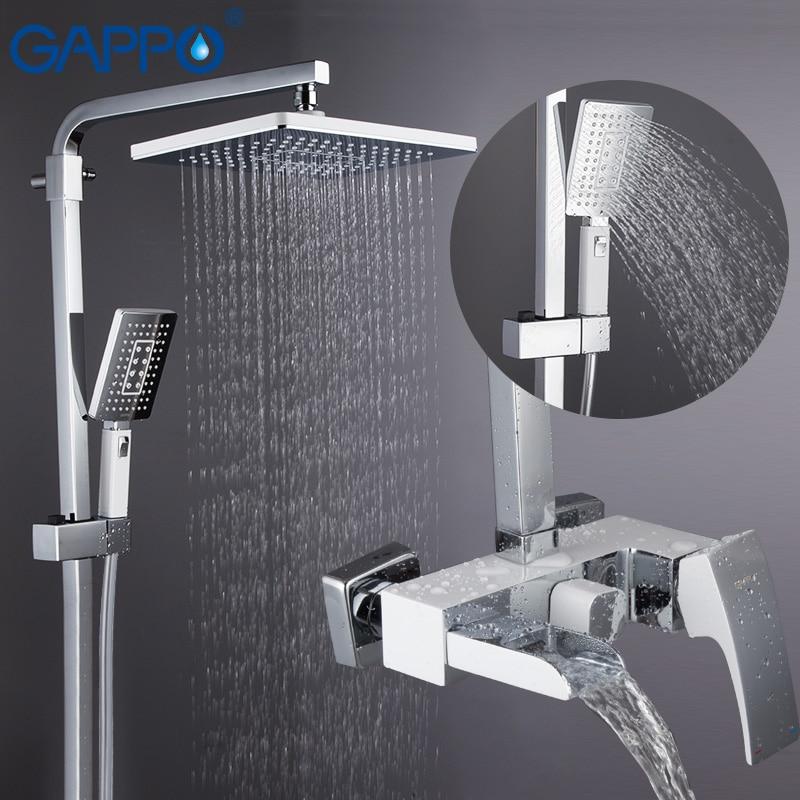 GAPPO أدوات دش الحمام تدليك الاستحمام الحائط رؤوس الدش الكروم مصقول الأمطار حمام خلاط دش مجموعات