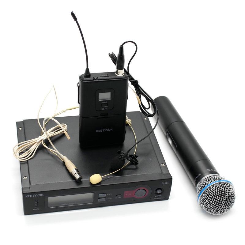 Sistema de micrófono de mano único Inalámbrico UHF SLX24/BETA58 58A + manual + solapa + Micrófono de auriculares PARA Karaoke DJ