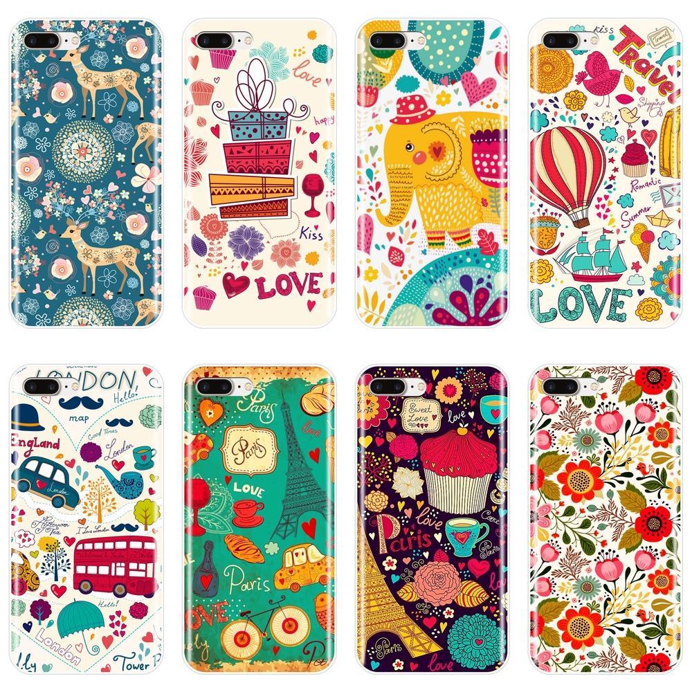 Cubierta trasera para iPhone 6 6 S 6 6 S 7 8 X XR XS Max corazón Flor de dibujos animados suave de silicona caso para Apple iPhone 6 6 S 6 6 S 7 7 Plus teléfono caso