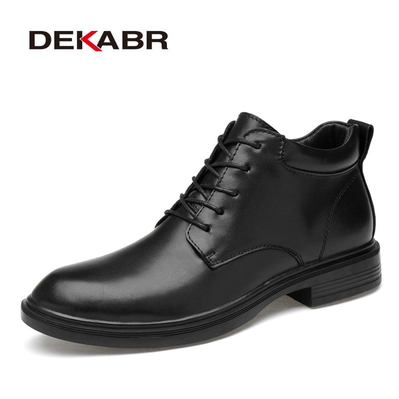 DEKABR الدافئة صعد أحذية جلد أصلي للرجال أحذية عالية الجودة الخريف الثلوج الرجال للماء والجلود الناعمة حذاء قصير