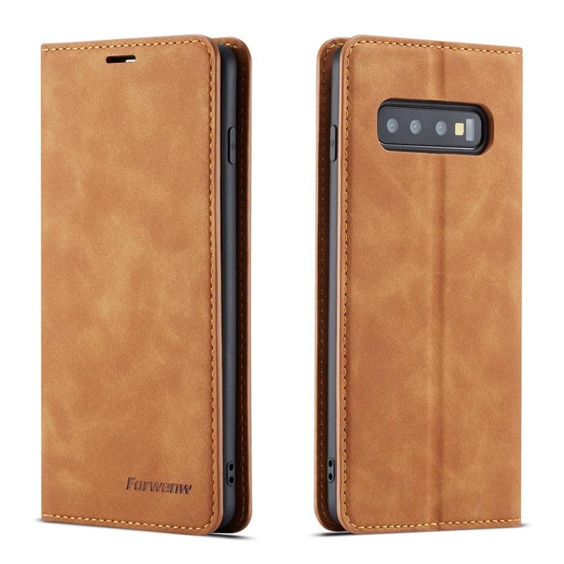Forwenw funda de lujo para Samsung S10 S10E más S9 S8 cuero cartera Flip cubierta para Samsung A7 2018 A50 a30 A70 A6 J6 Plus