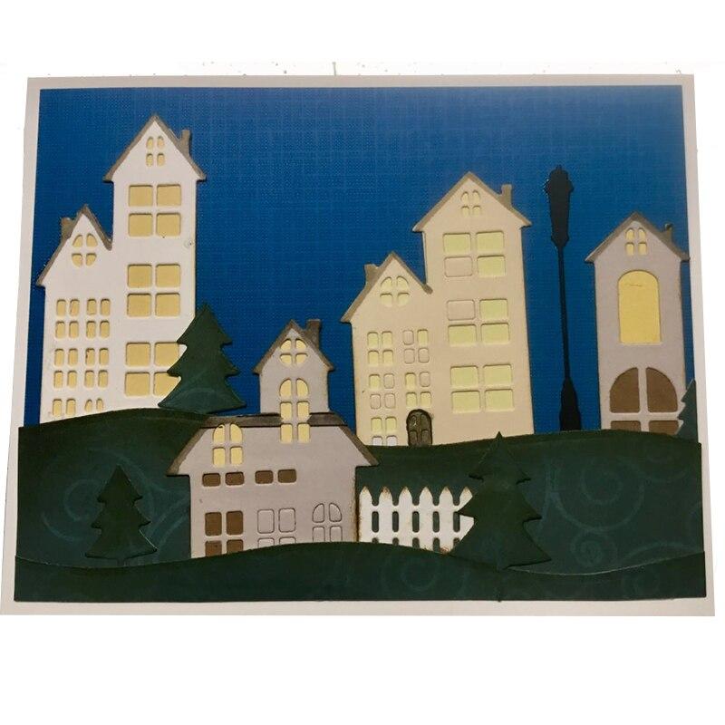 City Building Shape Decor Greeting Card Metal Cutting Dies Stencil DIY Scrapbook Paper Photo Album Craft Template Dies