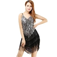 latin dance high quality sexy tassel latin dance dress elegant women latin dance dress fringed tassel sequins clubwear skirt