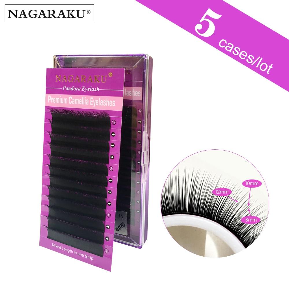 NAGARAKU  5cases set Pandora Eyelashes Camellia Eyelash can make a 3D eyelash effect high-grade package stable firm box cilia