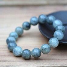12mm 100% naturel gris HETIAN néphrite bouddha perles Bracelets perles rondes chinois fortune Bracelets femme hommes bijoux Jades