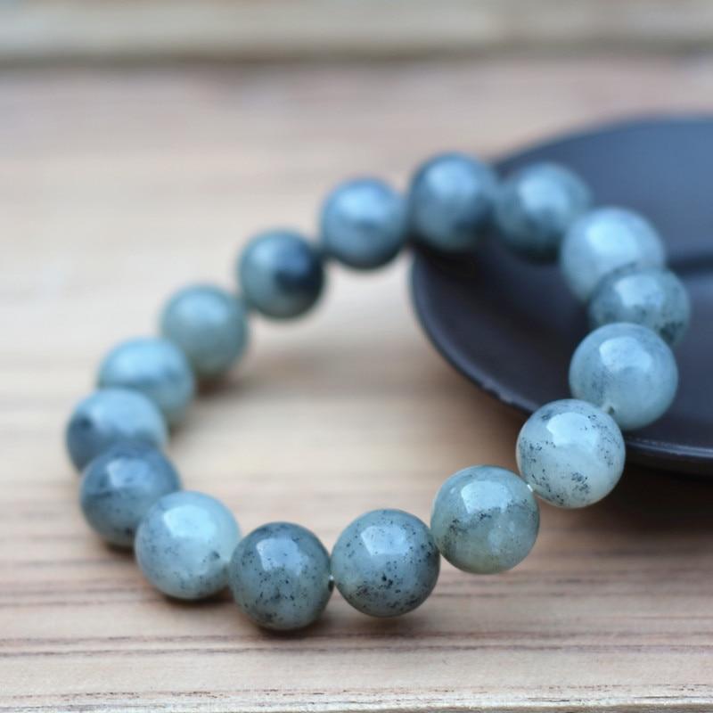 12 мм 100% натуральный серый Хэтянь нефритовый Будда Бусы Браслеты, круглые бусины китайские браслеты на счастье женские мужские украшения