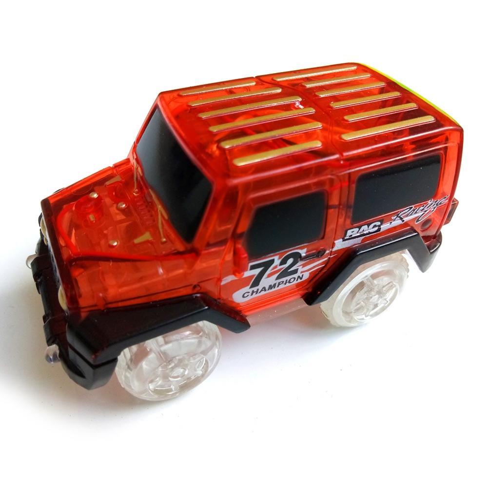 Leadingstar 1 pc crianças led brinquedo de carro elétrico para faixas de brilho brilhando no escuro incrível carro de corrida racetrack (para não incluir faixas)