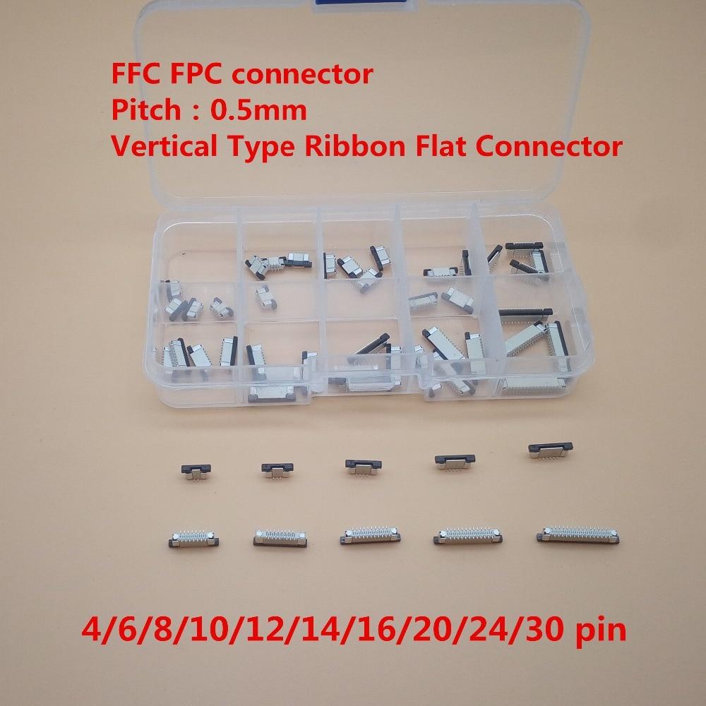50 unids/lote 0,5mm 4/6/8/10/12/14/16/20/24/30P conector de Cable plano Flexible FFC FPC de 0,5mm