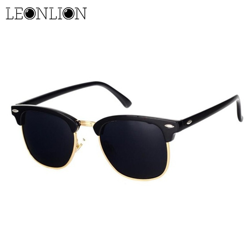 LeonLion Polarized Semi-Rimless Sunglasses Women/Men Polarized UV400 Classic Brand Designer Retro Oc