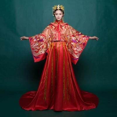 فستان أحمر مطرز على شكل طاووس ، أداء مسرحي ، دراما/ستوريدو/كوسبلاي ، غطاء رأس غير متضمن