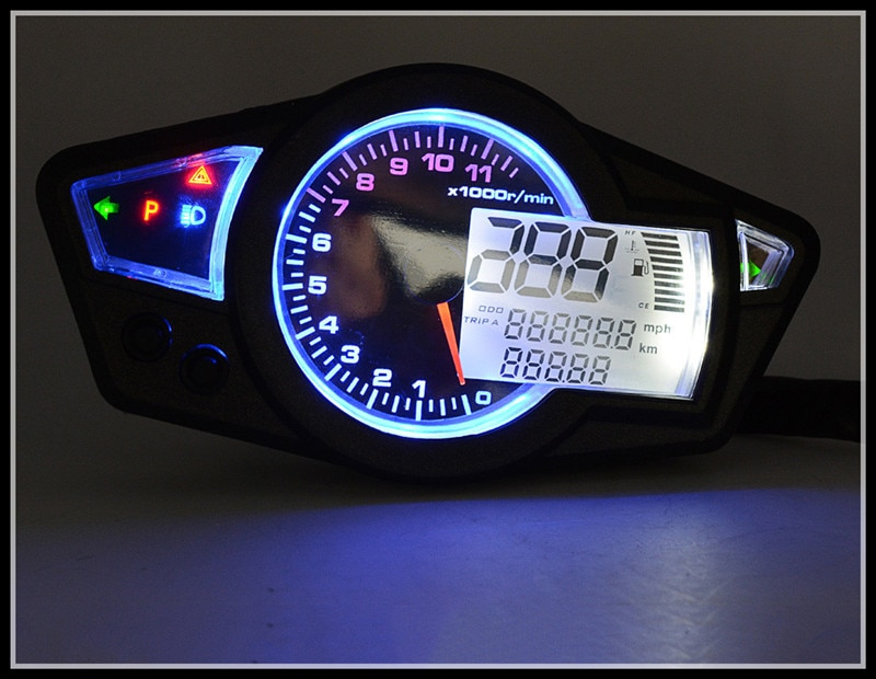 Cuentakilómetros KOSO de La Motocicleta Reinstale medidor LCD Ajustable de 10 pulgadas 13 pulgadas 17 pulgadas 18 pulgadas 19 pulgadas 21 pulgadas de neumáticos