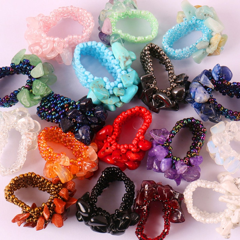 Kristal/mercan/Carnelian/Sodalite/Howlite/Opal taş elastik parmak yüzük streç (12 adet/grup) boyutu 8-9 takı kadın hediye için