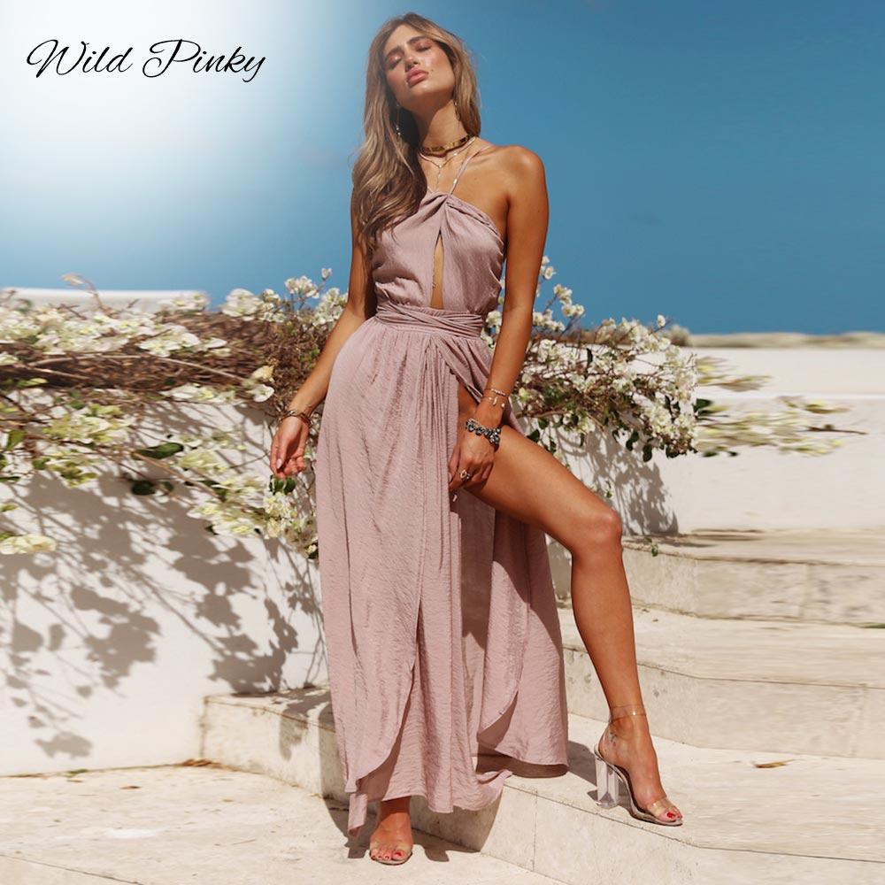 WildPinky 2020 New Women Summer Boho Maxi Long Dress Evening Party Beach Dresses Sundress Backless Halter Vestidos