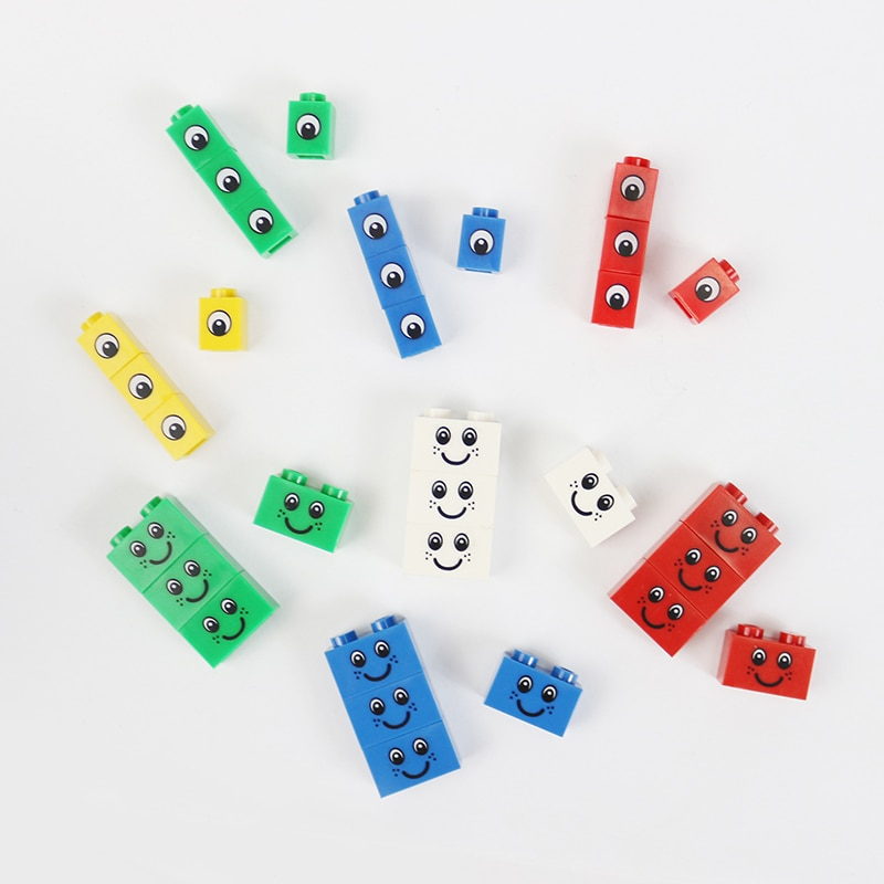 20Pcs 1x1 Smile Face Eyes Printed Block Bricks 1x2 Building Block Bricks DIY Enlighten Legoed Blocks Toys Assembles Particles