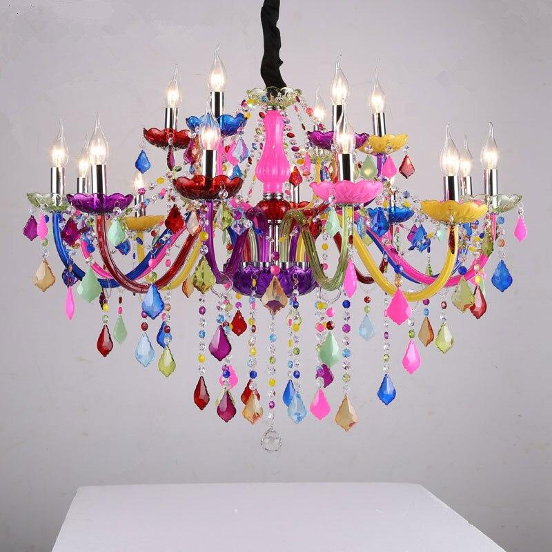 Candelabros modernos LED de cristal, iluminación colorida Bohemia, lustres de cristal decorativos,...