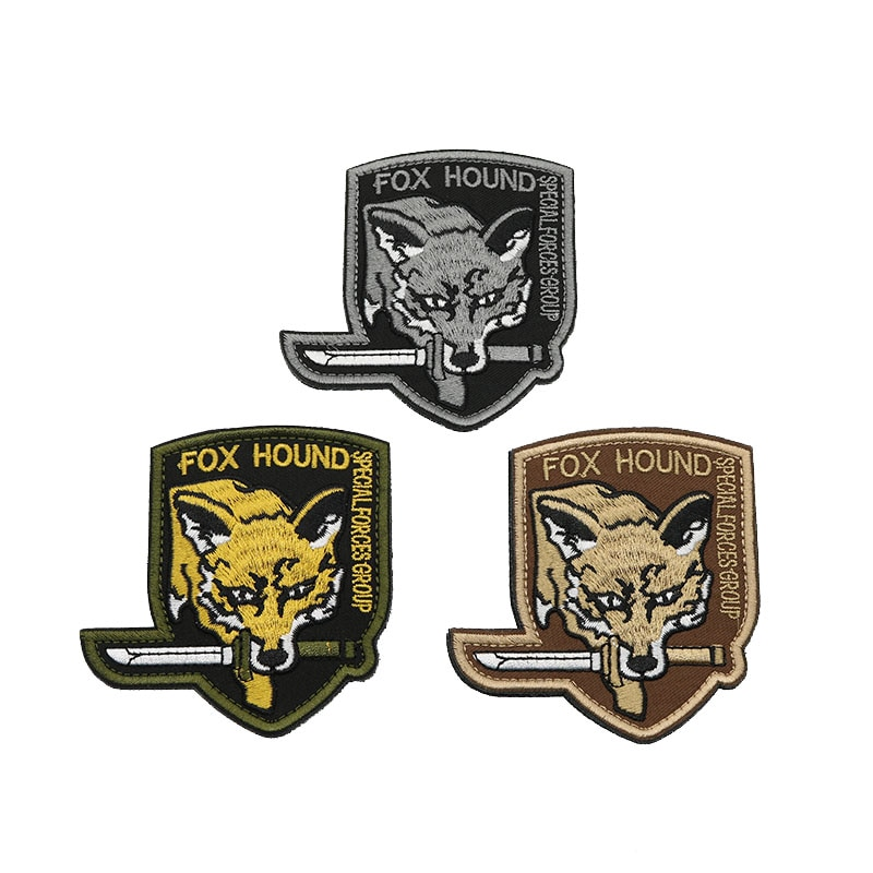 Escudo FOX 3D bordado brazalete táctica militar fuerza especial moral insignia mochila, ropa al aire libre parches deportivos
